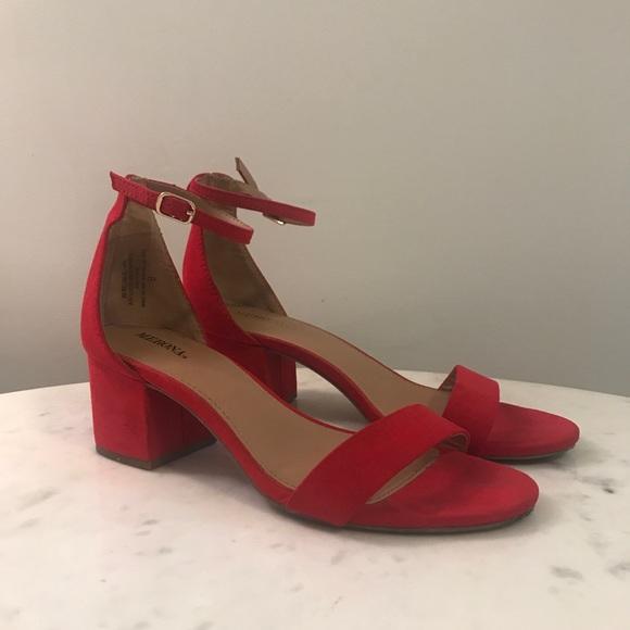 red 2 inch heel sandals